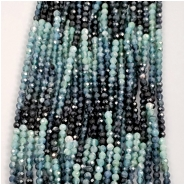 Tourmaline Multi Blue Faceted Round Gemstone Bead (N) Approximate size 2.6mm, 6.25 inches