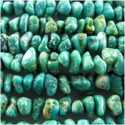 Turquoise Fox graduated green nugget gemstone beads (N) 3.2 x 5mm to at least 5.9 x 7.3mm, 2.7 to 4mm thick. 24 inch.CLOSEOUT