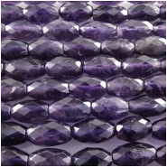 Amethyst faceted puff rice gemstone beads (N) Approximately 6 x 10mm 15.7 inch