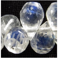 4 Moonstone faceted tear drop gemstone beads (N) 5 to 6mm long 3.8 to 4.2mm diameter Top side drilled