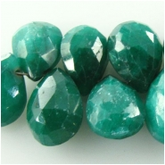5 Emerald faceted pear drop briolette gemstone beads (ED) Approximate size 6.2 x 9mm to 7.5 x 9.9mm