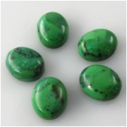 5 Turquoise Hubei green oval cabochon loose cut gemstones (DS) Approximate size 8 x 10mm