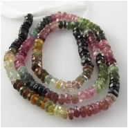 Tourmaline AA faceted rondelle gemstone beads (N) Approximate size 3.5mm 14 inch