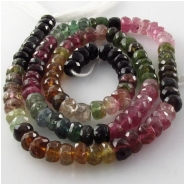Tourmaline AA faceted rondelle gemstone beads (N) Approximate size 5.5 to 6.2mm 15 inch