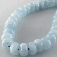 Aquamarine blue faceted rondelle gemstone beads (N) Approximate size 9.2 to 9.6mm 16 inch