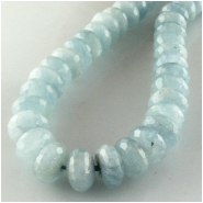 Aquamarine faceted rondelle gemstone beads (N) Approximate size range 8.4 to 9.1mm 15.5 inch