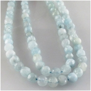 Aquarmarine faceted round gemstone beads (N) Approximate size 4mm 3.8 to 4.2mm 15 inch