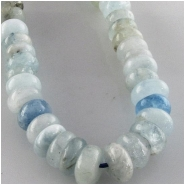 Aquamarine rondelle gemstone beads (N) Approximate size range 6.9 to 7.5mm 15.2 inch