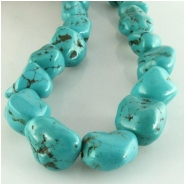 Turquoise Hubei nugget gemstone beads (S) Approximate size 11 x 12mm to at least 14 x 16mm 16 inch