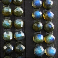 2 Labradorite AAA matched pair faceted rose cut round cabochon gemstones (N) Approximate size 8mm