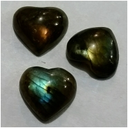 4 Labradorite AA heart shape cabochon gemstones (N) Approximate size 10.8 x 12.3mm to 10.8 x 13.9mm