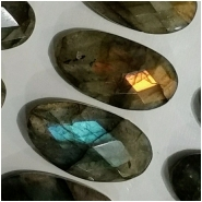 1 Labradorite faceted rose cut oval gemstone cabochon gemstone (N) Approximate size 10.2 x 19.4mm to 10.6 x 19.8mm