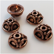 10 Copper Beadcaps Approximate size 5.5 x 10.4mm to 5.7 to 10.8mm 7mm Inside Diameter