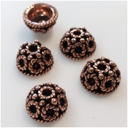 10 Copper Beadcaps Approximate size 5.2 x 10mm to 5.5 to 10.4mm 7mm Inside Diameter
