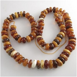 Amber Baltic graduated rondelle gemstone beads (N) Approximately 7 to 9mm 17.5 inch