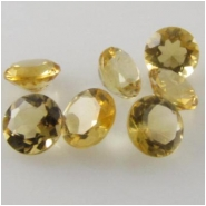 10 Citrine faceted round loose cut gemstones (H) 4mm