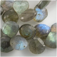 3 Labradorite faceted drop briolette gemstone beads (N) 9 x 9mm to 10 x 10mm Top side drilled