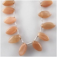 Moonstone peach marquise briolette gemstone beads (N) Approximate size 6.4 x 11mm to 6.9 x 14mm