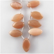 Moonstone peach marquise briolette gemstone beads (N) Approximate size 6.5 x 12mm to 7.7 x 16.2mm