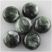 4 Seraphinite round loose cut cabochon gemstones (N) Approximate size 5.9 to 6mm