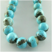 Turquoise Hubei blue round gemstone beads (S) Approximate size 7.6 to 8.1mm 15.8 inch