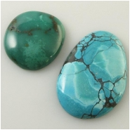 2 Turquoise Hubei cabochon gemstones (S) Approximate size range 25 x 27mm to 27 x 39mm