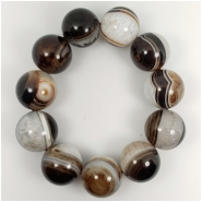 Black and White Striped Agate Round Gemstone Beads (N) Approximate size 20 to 20.3mm 9.5 inches