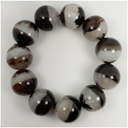 Black and White Agate Round Gemstone Beads (N) Approximate size 20 to 20.3mm 9.5 inches