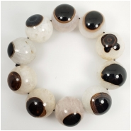Black and White Eye Agate Round Gemstone Beads (N) Approximate size 21.9 to 22.2mm 10 inches