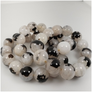 Black and White Agate Round Gemstone Beads (N) Approximate size 14.6 to 15.2mm 10 inches