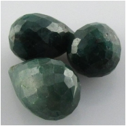 3 Emerald faceted tear drop briolette gemstone beads (DH) Approximate size 9 x 14mm to 10 x 15.9mm top side drilled