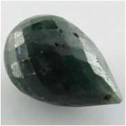 1 Emerald faceted tear drop briolette pendant gemstone bead (DH) Approximate size 14 x 22mm to 16 x 23mm top side drilled
