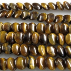 Tiger Eye lentil overlap coin gemstone beads (N) 8 to 8.3mm CLOSEOUT