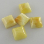 5 Amber butterscotch square loose cut gemstone cabochons (N) Approximately 7mm