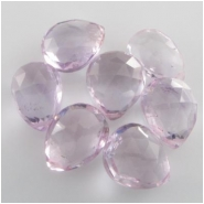 4 Amethyst light pink faceted pear drop briolette gemstone beads (N) 7.7 x 11.3mm to 10.6 x 12.9mm CLOSEOUT