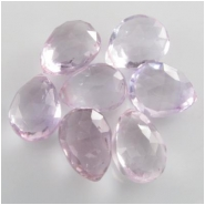 3 Amethyst light pink faceted pear drop briolette gemstone beads (N) 8 x 13mm to 10.8 x 13.9mm