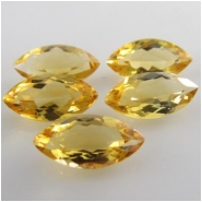 5 Citrine faceted marquise loose cut gemstones (H) Approximately 4 x 8mm