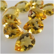 5 Citrine faceted pear loose cut gemstones (H) Approximately 4 x 6mm