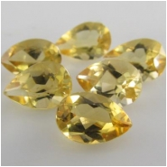 2 Citrine faceted pear loose cut gemstones (H) Approximately 6 x 9mm