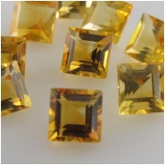 5 Citrine faceted square loose cut gemstones (H) Approximately 4mm