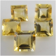 2 Citrine faceted square loose cut gemstones (H) Approximately 6mm