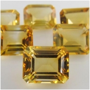 4 Citrine faceted octagon loose cut gemstones (H) Approxmately 4 x 6mm