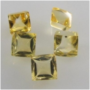 5 Citrine faceted square loose cut gemstones (H) Approximately 4mm CLOSEOUT