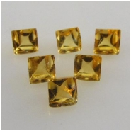 5 Citrine faceted square loose cut gemstones (H) Approximately 3mm CLOSEOUT