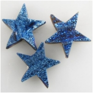1 Titanium infused druzy blue star cabochon gemstone 17 to 19mm CLOSEOUT