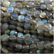 Labradorite faceted hand cut coin gemstone lots of flash beads (D) Approximately 6mm 13.5 inch