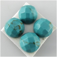 4 Turquoise Hubei checkerboard round loose cut gemstones (DS) Approximate size 9mm