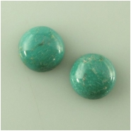 2 Turquoise Hubei greenish round cabochon loose cut gemstones (S) Approximate size 10mm