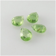 4 Peridot faceted drop briolette gemstone beads (N) Approximate size range 4.3 x 5mm to 5.3 x 6.8mm Top side drilled