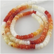 Mexican fire opal hand cut rondelle gemstone beads (N) Approximate size 3.4 to 3.6mm 13.2 inch